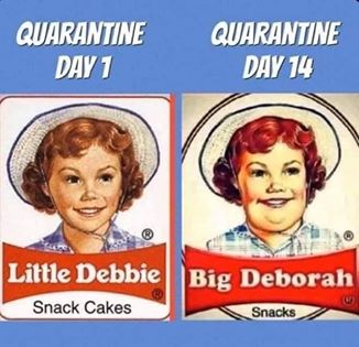 funny coronavirus meme, fat coronavirus meme, eating coronavirus meme, little debbie coronavirus meme