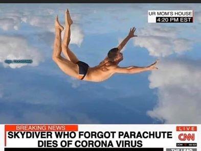 funny coronavirus meme, skydiver coronavirus meme, parachute coronavirus meme